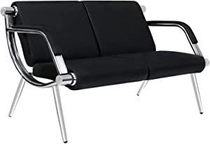 Peach Tree Black Leather Executive Side Reception Chair Office Waiting Room Guest Reception, Salon Barber Office Waiting Chair Bank Hall Airport Reception Waiting Chair 2 Seat Bench