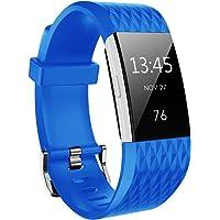 Hanlesi Bandas para Fitbit Charge 2, Bandas de Correas Deportivas de Repuesto de Silicona con Textura en Forma de Diamante para Las Pulseras Fitness de Fitbit Charge2