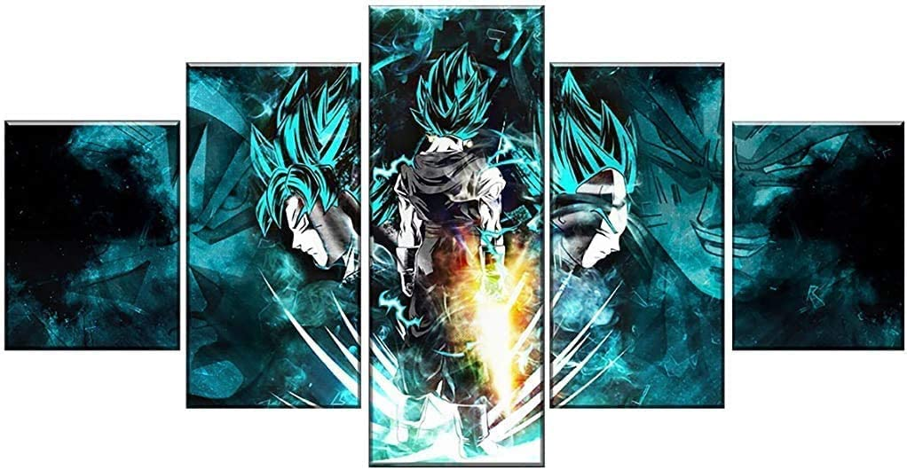 5 Piece HD Print Dragon Ball Super Goku And Vegeta Poster Paintings on Canvas Wall Art for Home Decorations Wall Decor Artwork (30x40 30x60 30x80cm)