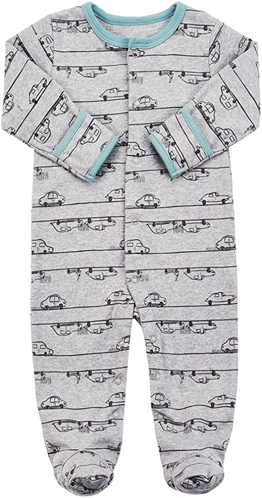 3 Packs Infant Girls Boys Footie Onesies Sleeper Newborn Cotton Sleepwear Outfits Baby Footed Pajamas with Mittens