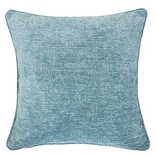 Homey Cozy Chenille Textured Throw Pillow Cover,Heavy Chenille Series Spa Green Large Sofa Couch Decorative Pillow Case Modern Western Home Decor 20x20, Cover Only