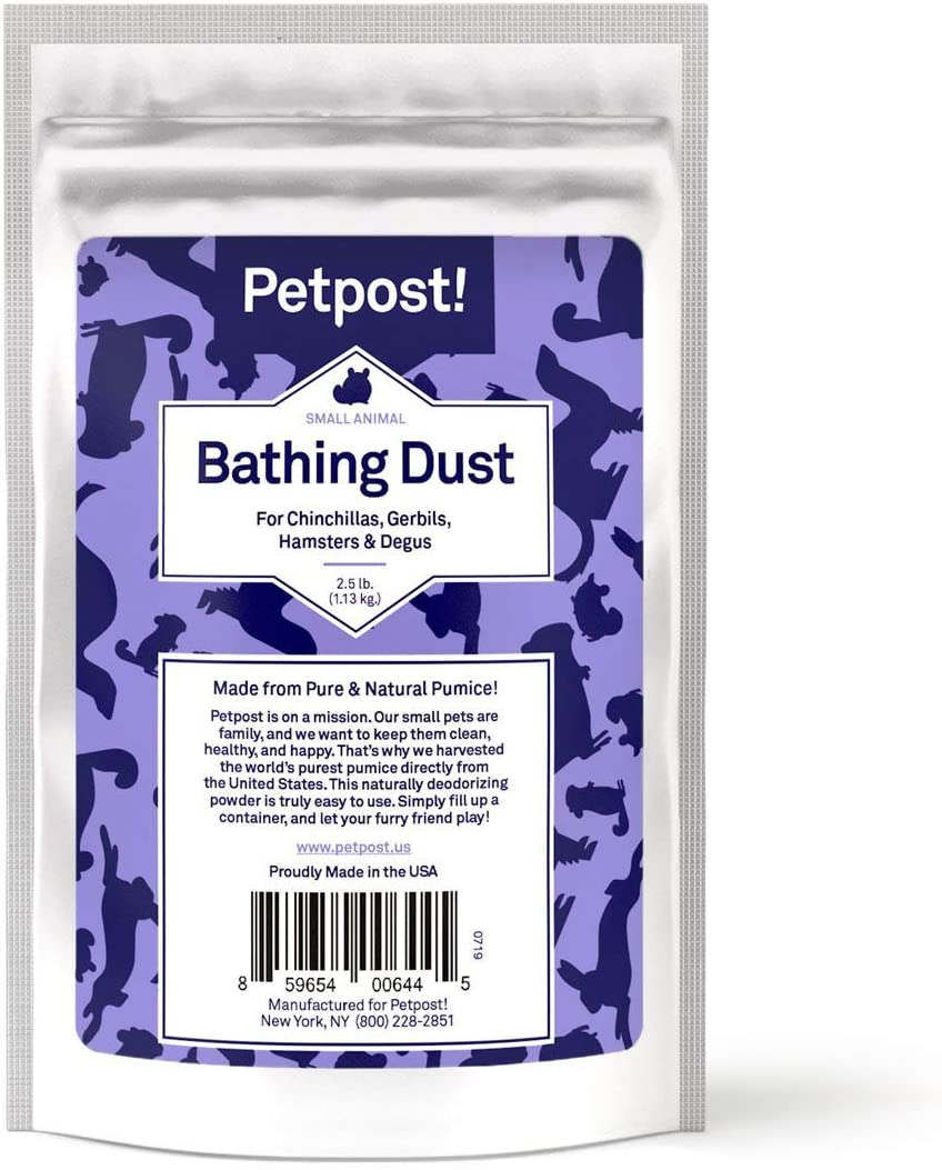 Petpost   Chinchilla Bath Dust for Small Animals - Natural, Pure Cleansing Pumice Sand for Cleaning Degus, Hamsters, & Gerbil