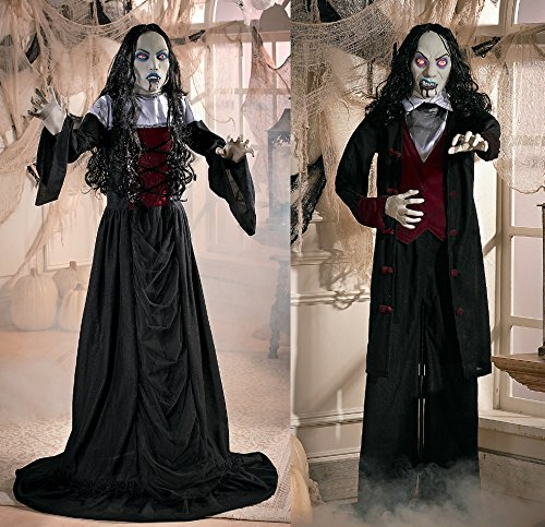 Gothic Vampire Couple Woman and Man Halloween Spooky Creepy Evil Scary Decor Graveyard Haunted House Prop Fall Autumn Harvest Thanksgiving Home Accent (Graveyard Halloween)