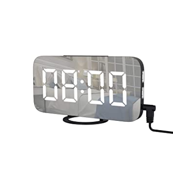 AOGUERBE Digitale Wecker, Tischuhren Alarm Clock LED Spiegel ...