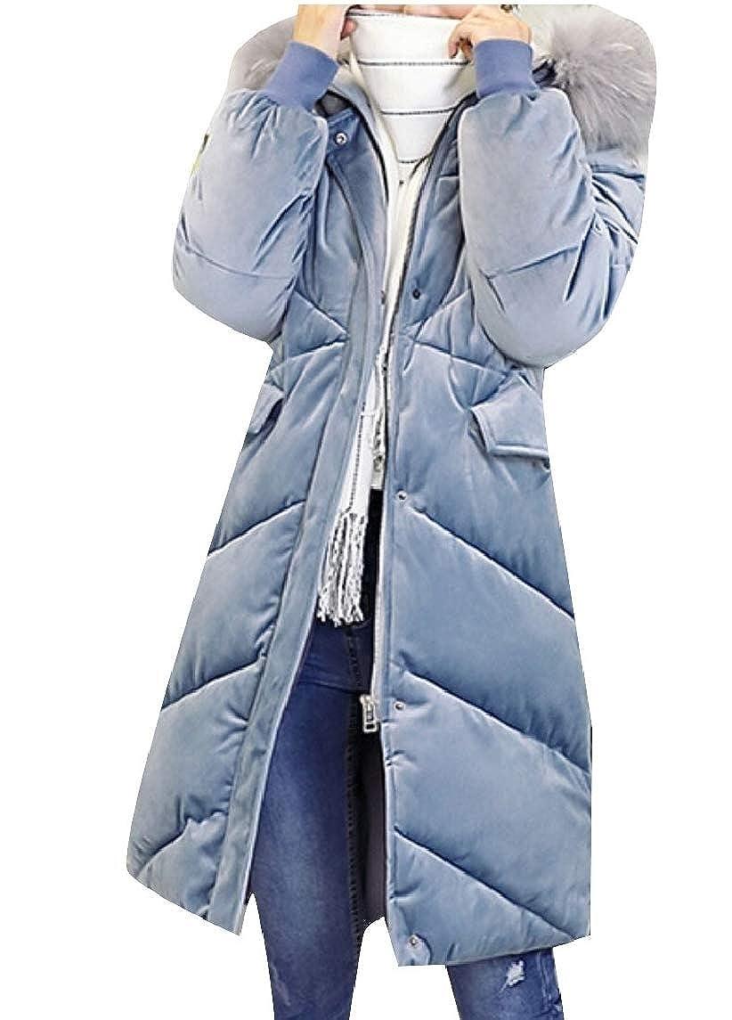 bluee Qiangjinjiu Women Hood Thick Long Down Jacket Winter Down Parka Puffer Jacket