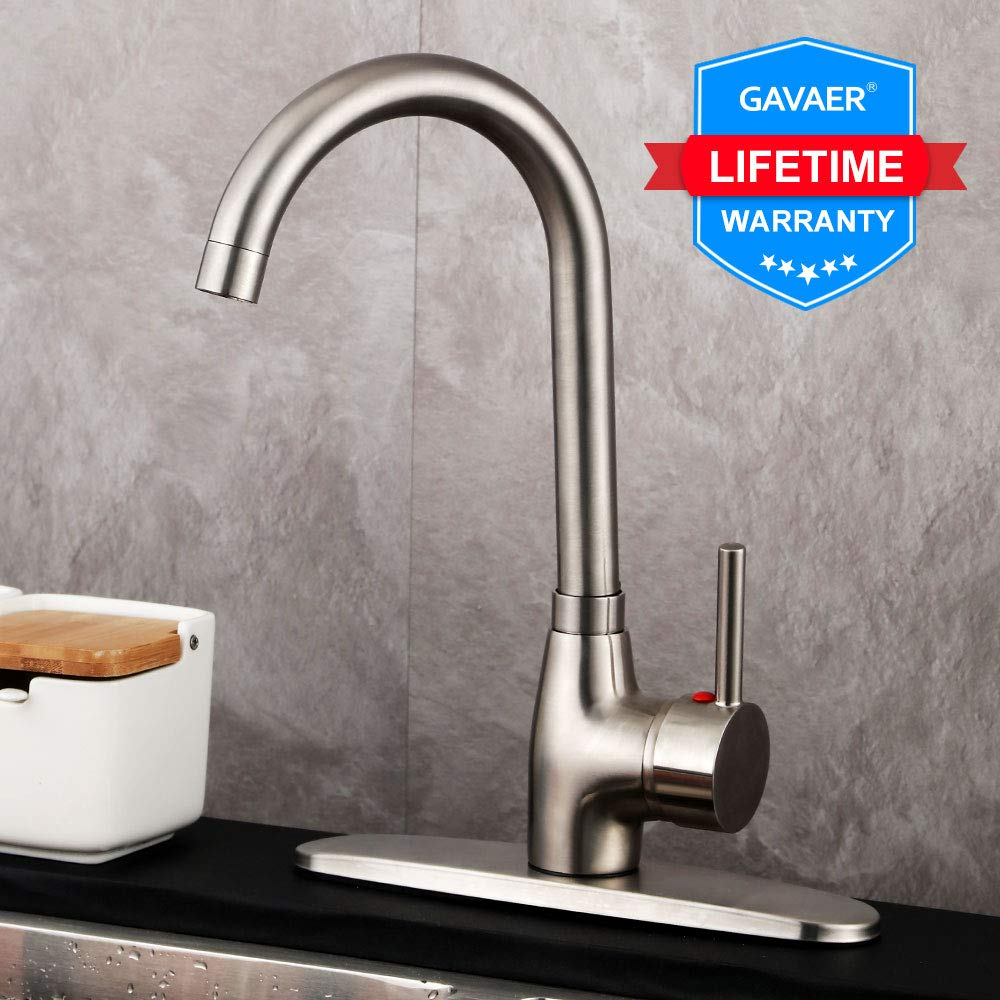 GAVAER Kitchen Sink Faucet Single Handle Brushed Nickel,360 Degree Swivel Spout Hot and Cold Water Kitchen Faucet-Contemporary Style Lead-free Solid Brass Faucets,With Deck Plate.