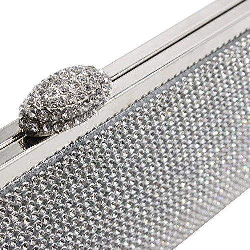 Rhinestone Case Bag Crystal Silver Purse Clutch Lady Womens Wiwsi Handbag Glitter Party Silver gw8WO