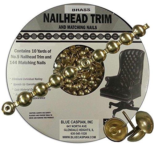 B.C. Upholstery Nailhead Trim with Matching Nails - Brass Gilt (Gold) - 30 ft (10 yds) (Brass Nailhead Trim)