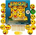 Emoji Golf Balls Gift Edition - 14 Deluxe Practice Golfballs + 10 Golfing Tees + 1 Divot Repair Tool - Golfer Novelty Gag Gifts For Kids & Experienced Golfers - By Bullfrog