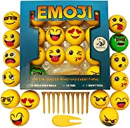 Emoji Golf Balls Gift Edition - 14 Deluxe Practice Golfballs + 10 Golfing Tees + 1 Divot Repair Tool - Golfer Novelty Gag Gifts For Experienced Golfers - By Bullfrog