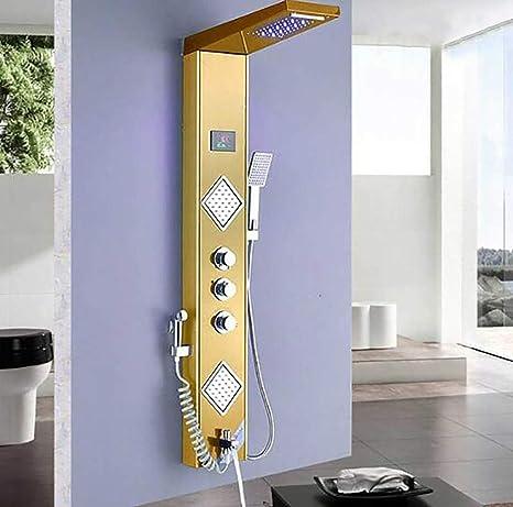Shower System Luz de luz Dorada de Ducha LED Pantalla de ...