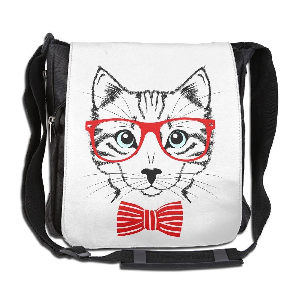 Red Glasses Hipster Cat Custom Unisex Polyester Fiber Messenger Bag Cross-Body Bag Daypack Bag by Xieguiting