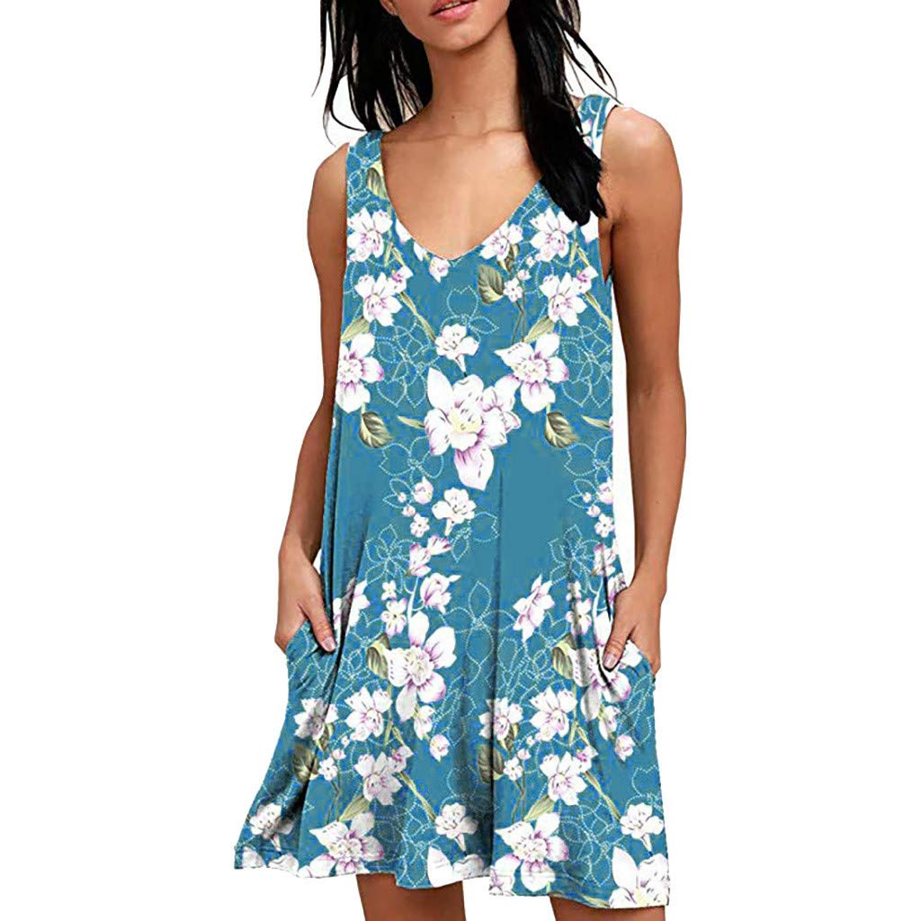 BingYELH Dresses Women Summer Casual Sleeveless Floral Printed Swing T Shirts Dress Sundress with Pockets