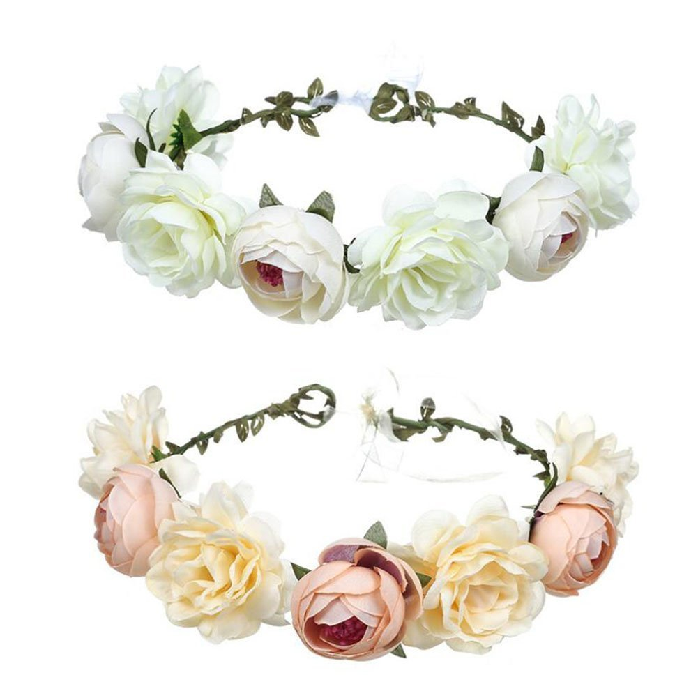 Boho Flower Crown Hair Wreath Halo Floral Garland Headband with Ribbon for Festival Wedding Party (White+champagne)