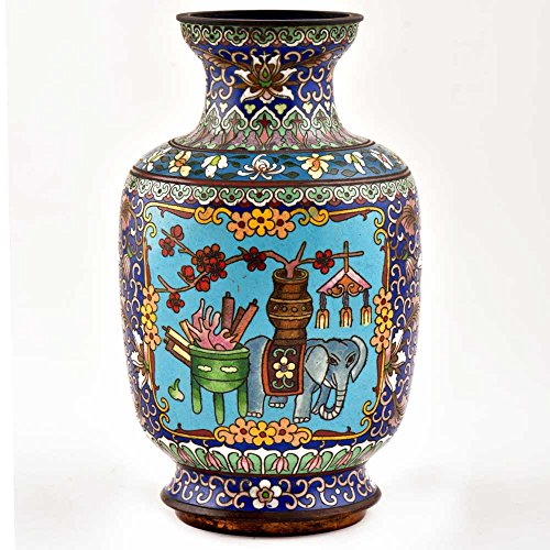 Indian Shelf Handmade Vintage Blue Elephant Cloisonné Enamel Jar (AMP-103A)