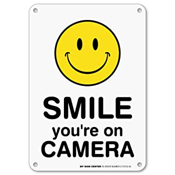 Amazon.com: Letrero de la cámara con texto en inglés