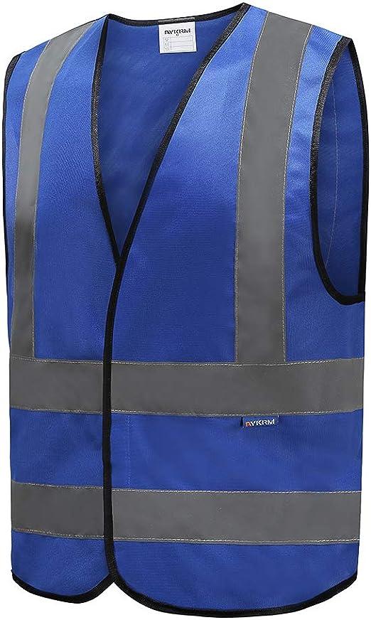 L, Blau Unisex hochsichtbare Warnweste Hohe Sichtbarkeit Warnweste Reflektierende Weste Sicherheitswesten EN ISO 20471 Mehrere Farben
