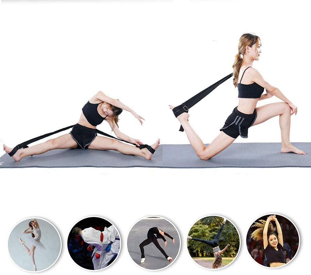 Dance Gymnastics Trainer Stretching Equipment for Cheer Taekwondo Dancers Adjustable Lengthen Ballet Stretch Band 2 Colors 2 Pack Door Flexibility /& Stretching Leg Strap