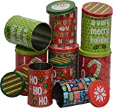 Christmas nested Cookie candy Tins for treats, small sizes, tall and round, 3 sets of 3, set of 9 holiday tins