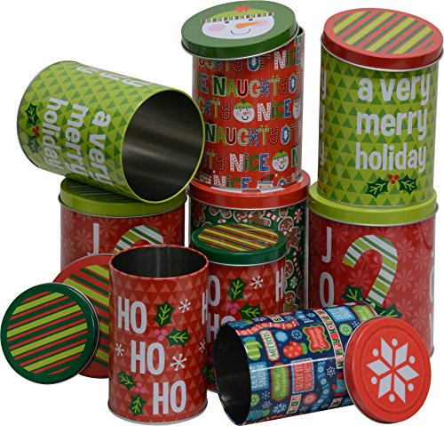 Christmas nested Cookie candy Tins for treats, small sizes, tall and round, 3 sets of 3, set of 9 holiday ()