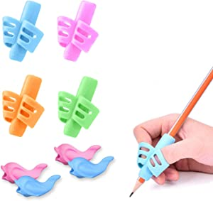 Pencil Grips, Pencil Grips for Kids Handwriting, HAWOWZ Writing Aid Gripper Trainer, Finger Grip Posture Correction Tool for Children Preschooler 8 Pack