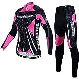 Xbtianxia Conjunto de camisa feminina de ciclismo respirável de manga comprida, roupa de ciclismo de secagem rápida com calça