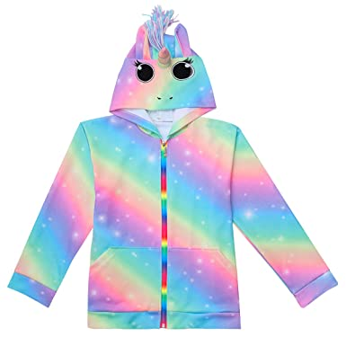737e8057f Amazon.com: Nidoul 3D Rainbow Unicorn Hoodies Jacket for Girls ...