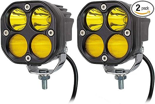 2PCS LED 3 inch Yellow Waterproof Lights Fog Lights Driving Lights For Wrangler Offroad 4X4 Auto Car Jeep Truck ATV UTV Boat Motorcycle bait 40W