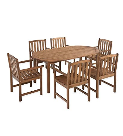 Amazoncom Lancaster Outdoor Furniture Collection Eucalyptus Wood - Oval dining table with 6 chairs