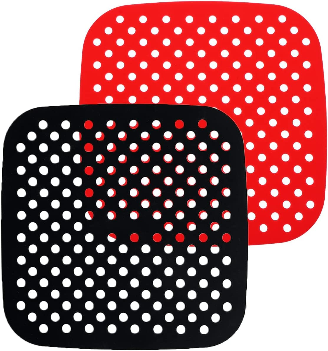 Air Fryer Silicone Liners – Reusable 8.5 Inch Square Non-Stick Food Safe Air Fryer Mats | Replacement of Flammable Parchment Liner Paper | For COSORI, INSTANT VORTEX, CHEFMAN, NUWAVE. (2-Pack)
