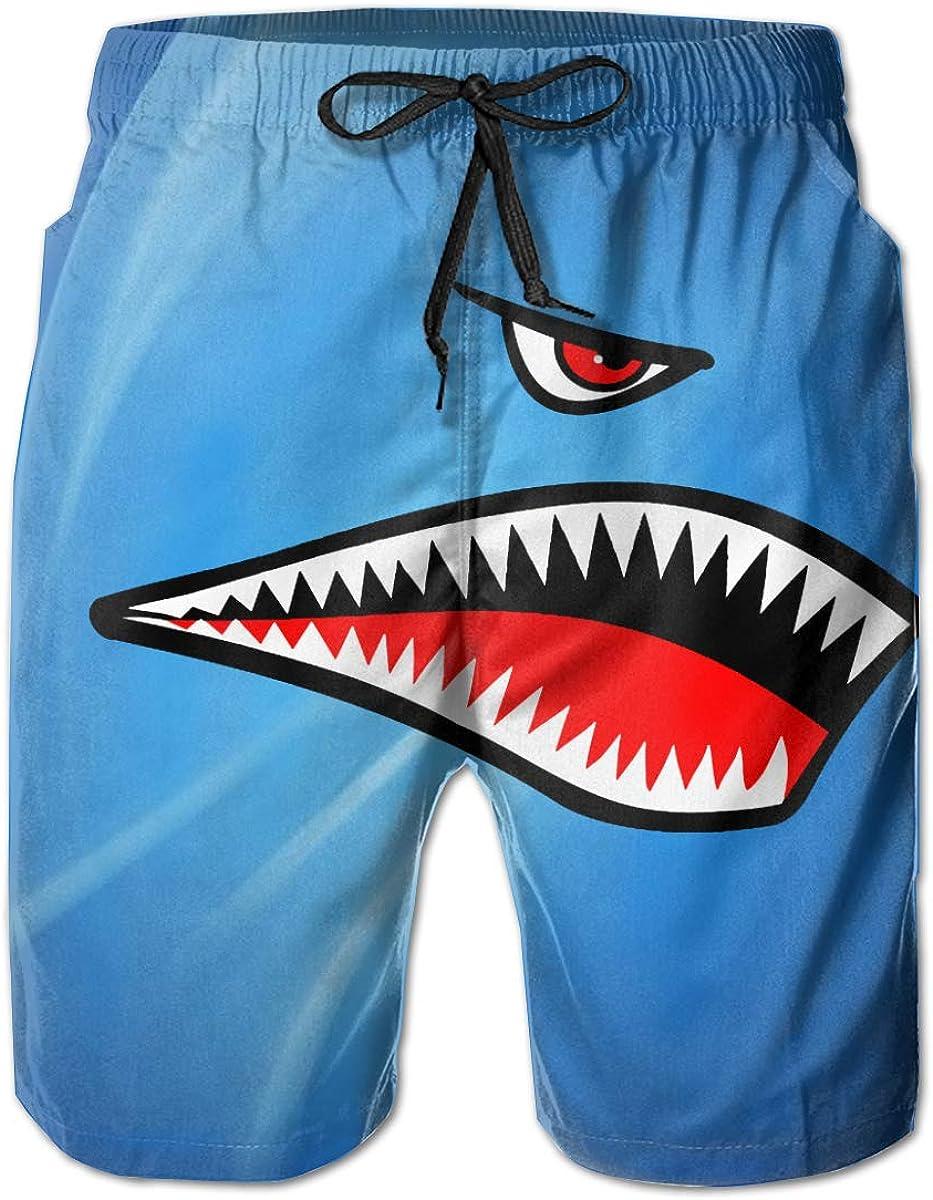 Flying Tigers P-40 Warhawk Shark Mouth Teeth Nose Man's Casual Beach Shorts Shorts Quick Dry Shorts