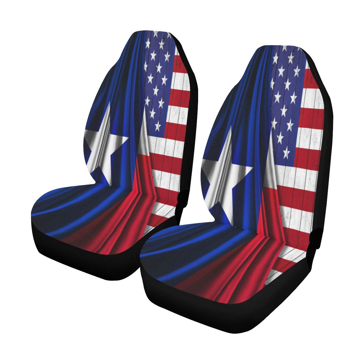 INTERESTPRINT Collection of USA States Flag Car Seat Covers Set of 2 Vehicle Seat Protector Car Covers for Auto Cars Sedan SUV