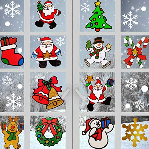 dow Clings Stickers Glitter Wall Decal Ornaments Snowman, Santa Claus, Snowflake, Tree, Santa Claus Design for Holiday Window Fridge Decorations, 54 Pcs ()