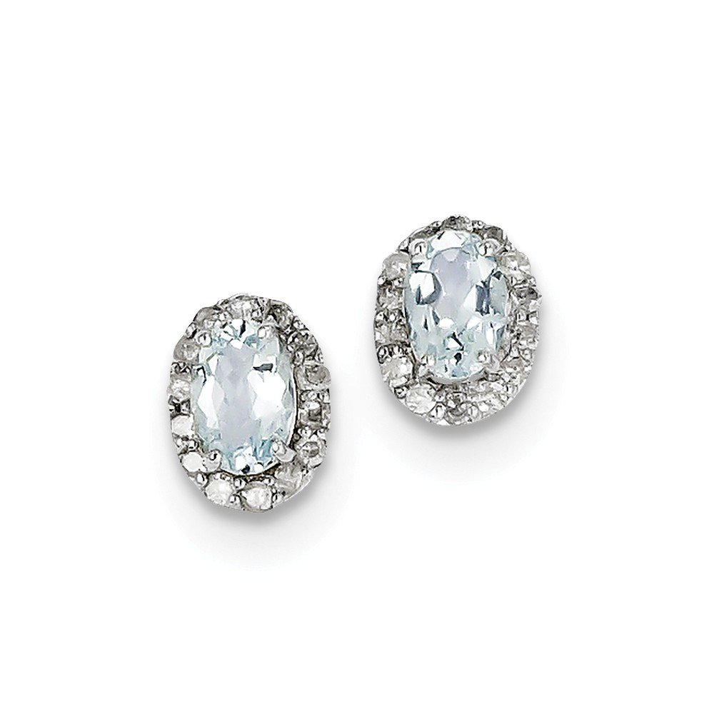 Sterling Silver Rhodium Plated Diamond & Aquamarine Oval Post Earrings