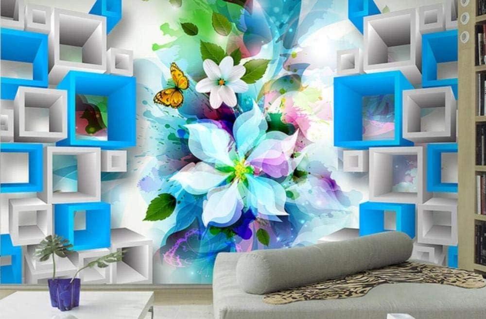 Papel Pintado 3D Fotomurales Moda Fantasía Flor Mariposa Cuadro Azul Salón Dormitorio Despacho Pasillo Decoración Murales De Paredes Moderna-430cmX300cm
