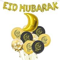 TOYANDONA Eid Mubarak Decoration Kit Moon Foil Balloons Letter Latex Balloons for Home Ramadan Kareem Decor Party…