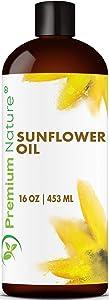 Organic Sunflower Oil Cold Pressed - Sunflower Seed Oil Unrefined Sun Flower Oil Face Hair Skin Sunflower Essential Oil Pure Unrefined Sunflower Oil for Massage Oil Sunflower Vitamin E Oil