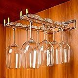 GeLive Stemware Holder Wall Mounted Wine Glass Hanger Rack Stainless Steel Kitchen Bar Storage 2 Rows