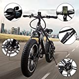 "NAKTO 20"" 350W Electric Bicycle Mountain Fat Tire Ebike Shimano 6 Speed Gear Electric Bike with Smart Multifunction LED Displayer Removable and Waterproof Builtin 48V 8A Lithium Battery, Smart Lithiu"