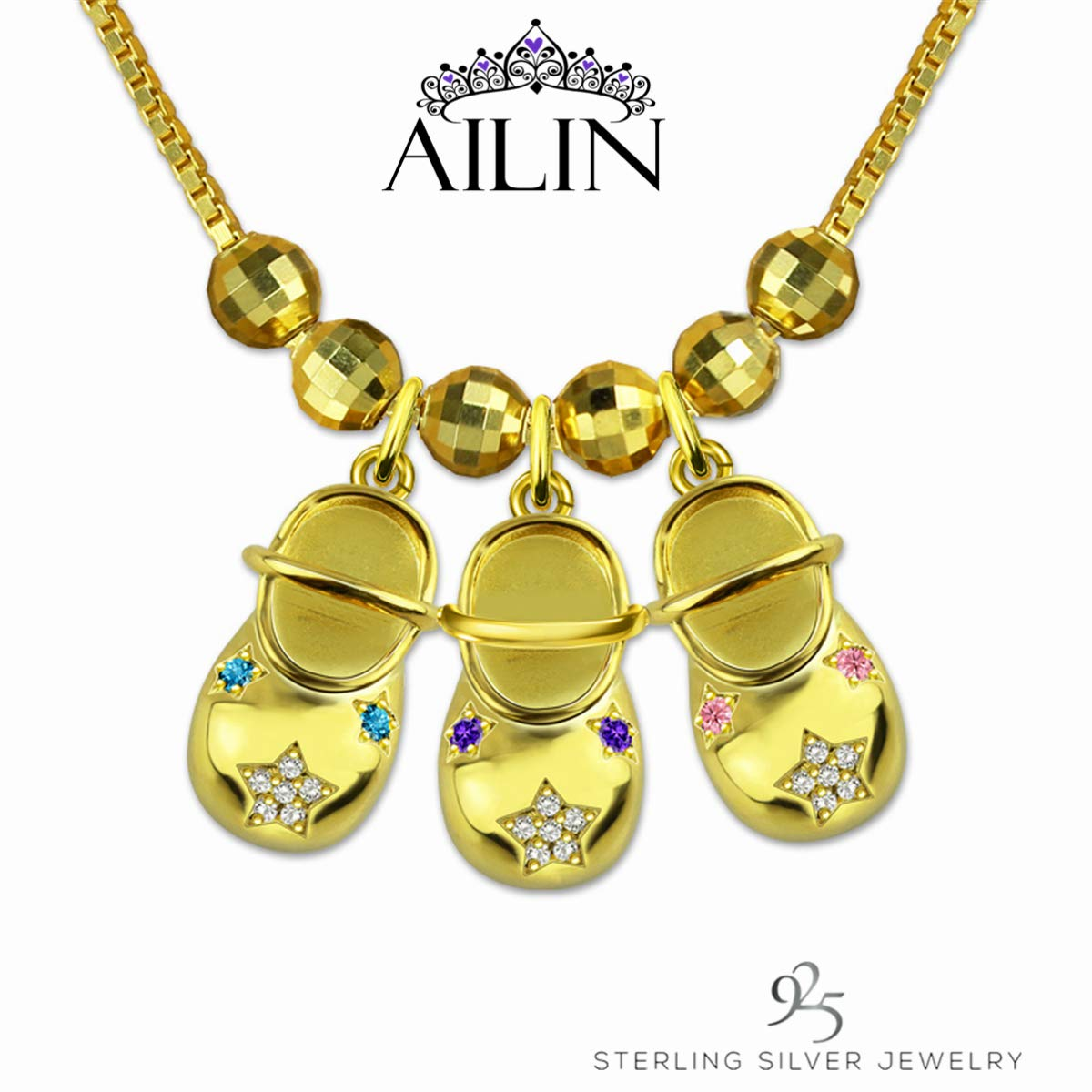 AILIN Jewelry Custom Name Necklace Personalized Baby Feet Shoes Birthstone Engraved Name Necklace Mothers Day Jewelry