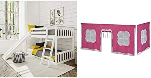 Max & Lily Solid Wood Twin Low Bunk Bed with Slide, White & Cotton Underbed Curtains, Pink & White