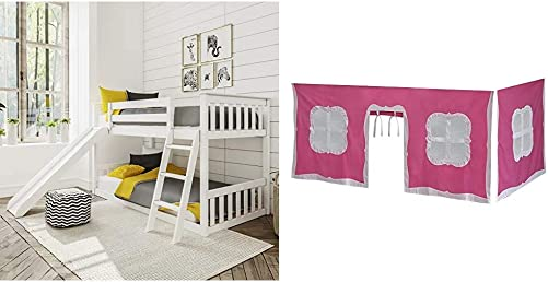 Max Lily Solid Wood Twin Low Bunk Bed