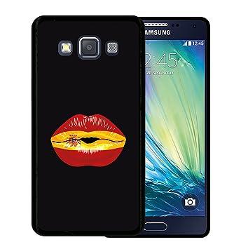 WoowCase Funda para Samsung Galaxy A5 2015, [Samsung Galaxy A5 2015 ] Silicona Gel Flexible Labio Bandera España, Carcasa Case TPU Silicona - Negro
