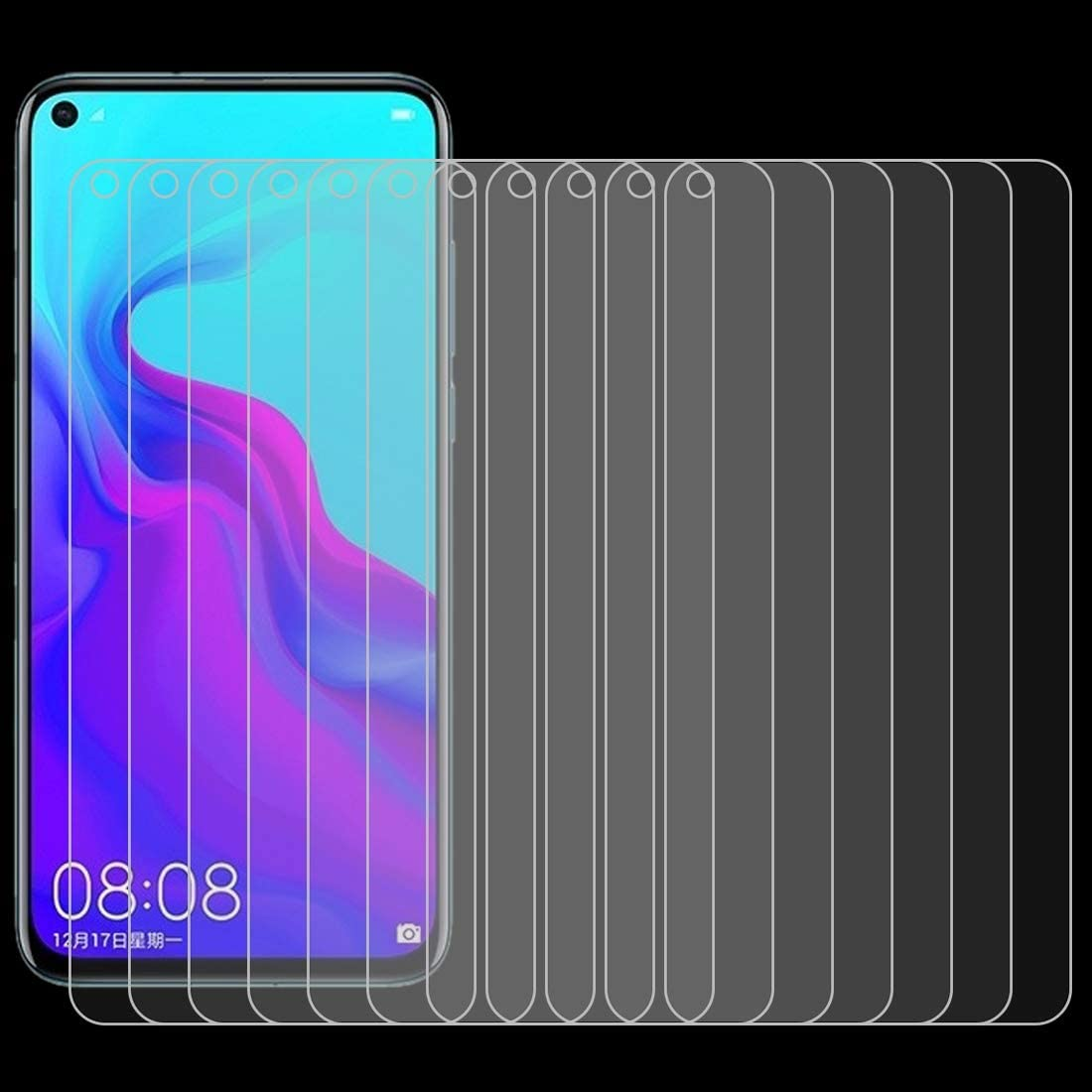 GzPuluz Glass Protector Film 100 PCS 0.26mm 9H 2.5D Explosion-Proof Tempered Glass Film for Huawei Nova 4