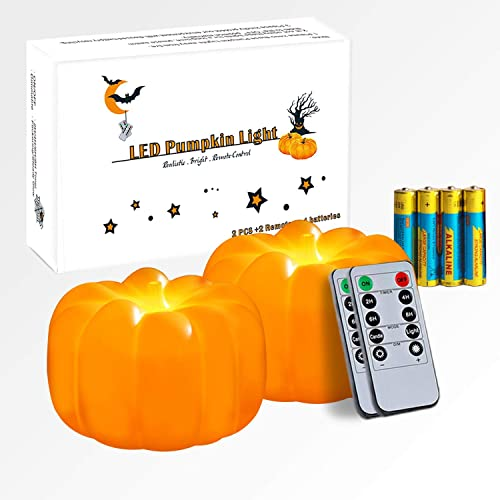 Homemory Halloween Pumpkin Lights, LED Jack-O-Lantern with Timer and Remote, Halloween Decorations Lanterns Battery Operated