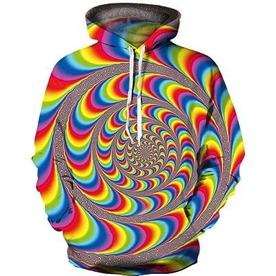 GEFANENR Suéter Unisex,Hombres Mujeres Amantes De Impresión Digital 3D Rainbow Espiral Hoodie Manga Larga Sudadera con Capucha De Ocio Camiseta Pullover Hoodie Novedad Salvaje: Deportes y aire libre
