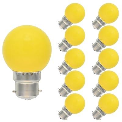 10 Pack B22 Ampoule de Couleur 1W Lampe Couleur LED 70-100LM Économie d'énergie Ampoule Jaune AC 220V-240V