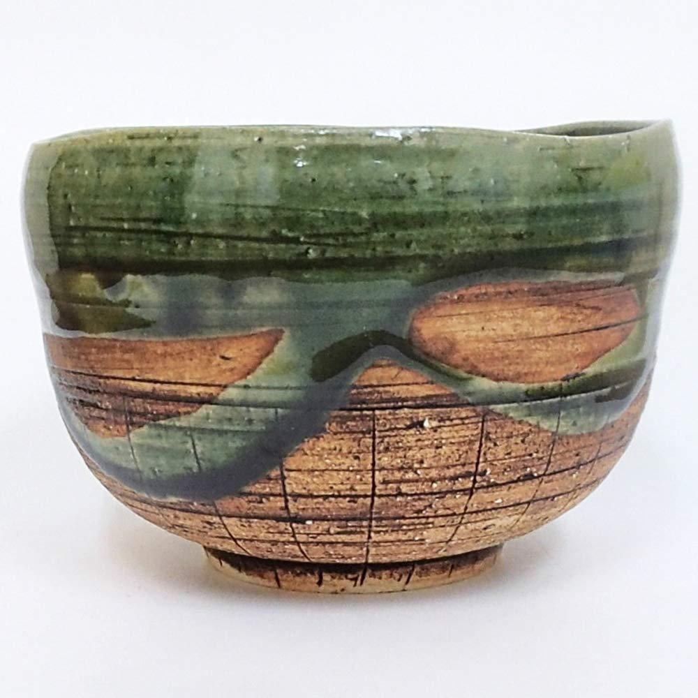 Matcha bowl 4.53'' dia. Japanese tea cup for tea ceremony, Authentic Mino Ware Pottery, Chawan, Oribe Juso Daifuku TG43101 from Japan