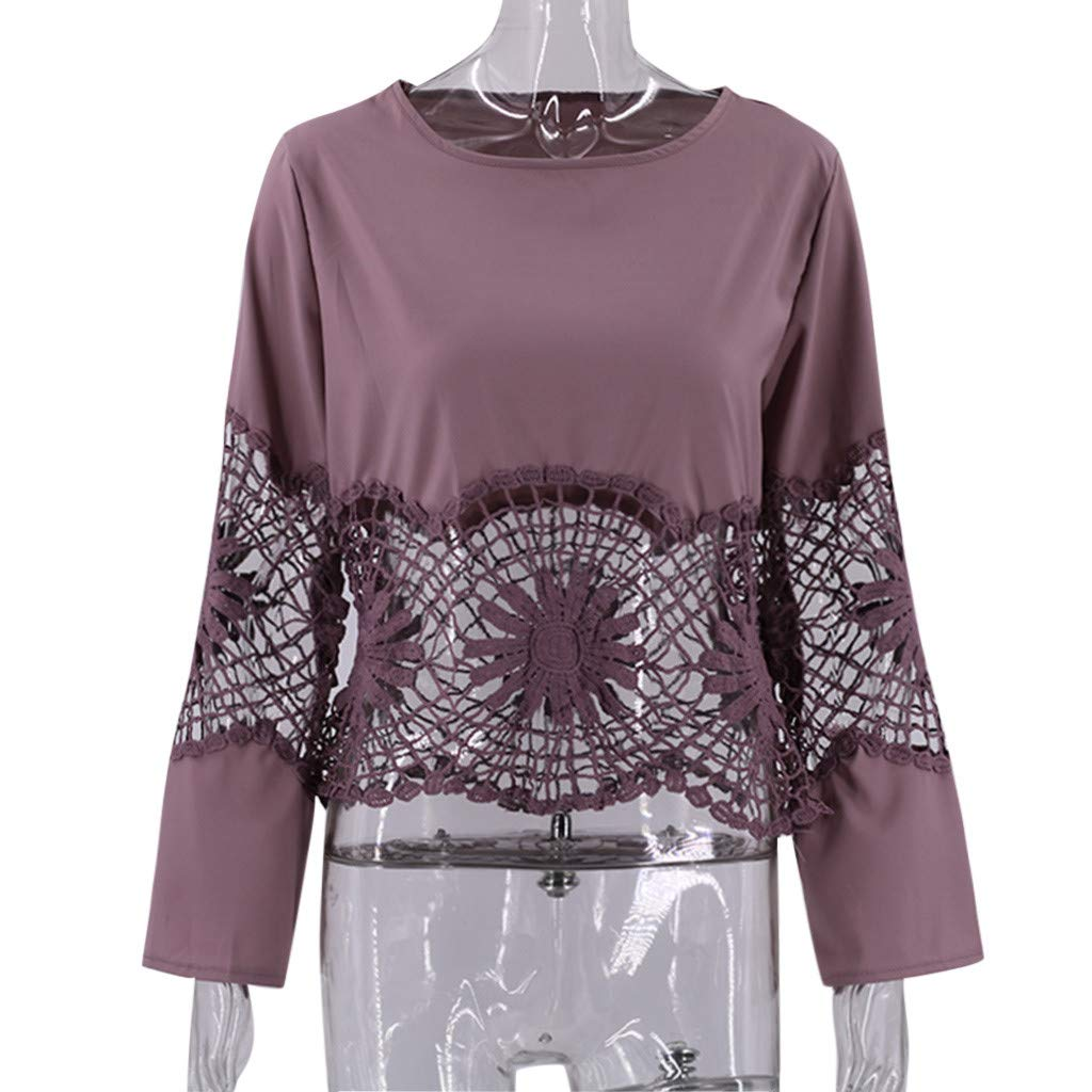 WM /& MW Fashion Women Crop Tops Flare Long Sleeve Solid Lace Patchwork Hollow Hem O-Neck T-Shirt Casual Blouse