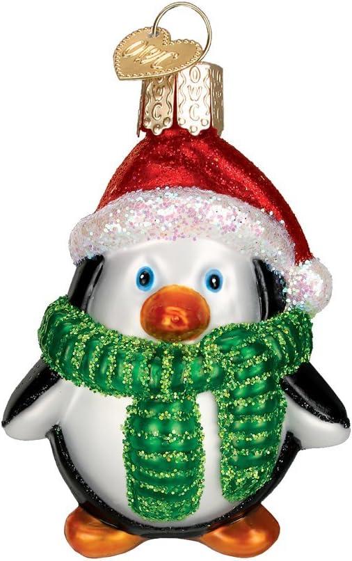 Winter Wonderland Festive Nature Antarctica Animals Pingu Fun Gift Family Cute Penguin in Snow Dome Glass Christmas Tree Hanging Bauble